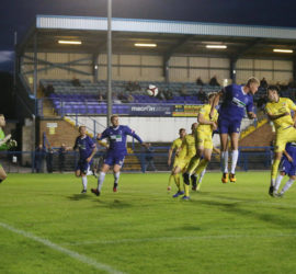 First-half - Callum Saunders headed 'goal' is adjudged offside