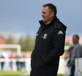 First-half - Nantwich Town Manager Dave Cooke oversees the action