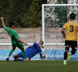 First-half - Nantwich Town goal from Callum Saunders slips it past a rushing keeper