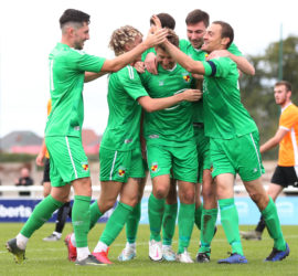 First-half - first Nantwich goal - players celebrate