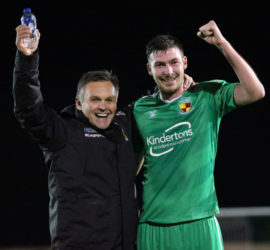 Full-time - Dabbers Manager Dave Cooke and Ben Harrison celebrate victory