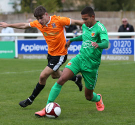 Second-half - Troy Bourne fights for the ball