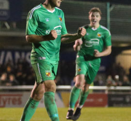 Second-half - first Nantwich goal - penalty - James Lawrie celebrates
