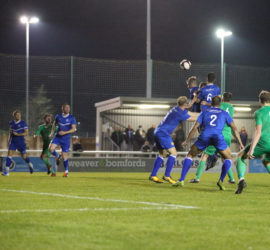 Second-half - second Nantwich goal - Joel Stair rises to head in