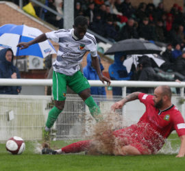 First-half - Nantwich Refrigeration Services Man of the Match Prince Haywood eyes the ball