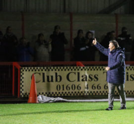 Full-time - Manager Dave Cooke thanks fans after victory
