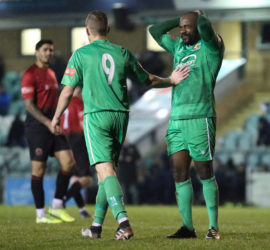 Second-half - Joe Mwasile is consoled by Scott McGowan after his shot is wide of the target