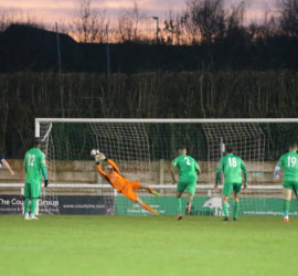 Second-half - penalty save from Dabbers keeper James Hawkins