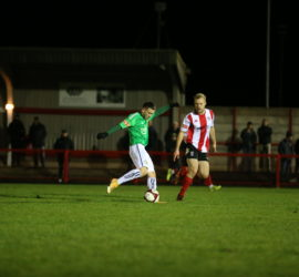 Witton Albion 2-5 Nantwich Town (Tues 15-12-2020) Buildbase FA Trophy Second Round - Curtis Miller shoots at goal (1)