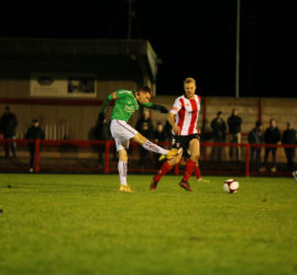 Witton Albion 2-5 Nantwich Town (Tues 15-12-2020) Buildbase FA Trophy Second Round - Curtis Miller shoots at goal (2)